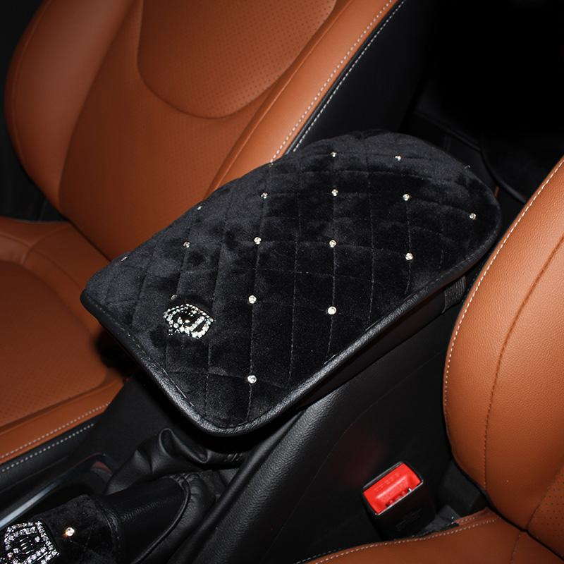 Crown Crystal Plush Car Armrests Cover Pad Universal Center Console Auto Arm Rest Seat Box Cushion Covers Protector Black