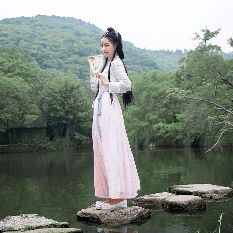 I4qGU kadın yaz yeni antik kostüm bel kaplı antik kostüm Hanfu Çin Han tarzı hanedanı yetişkin Hanfu