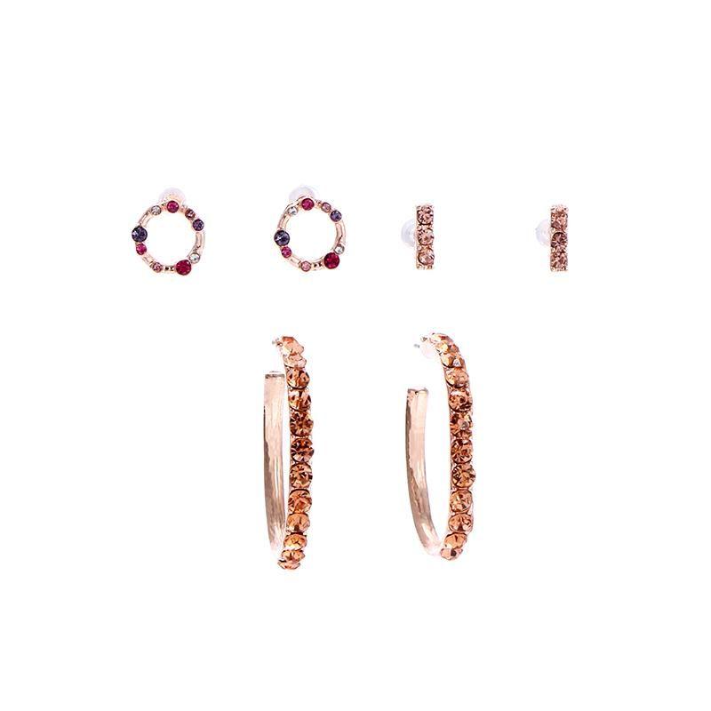 New Arrival 3pairs/set Champagne Rhinestone Crystal Huggie Earrings for Women Female Small Stud Earrings Bijoux Brinco MC4
