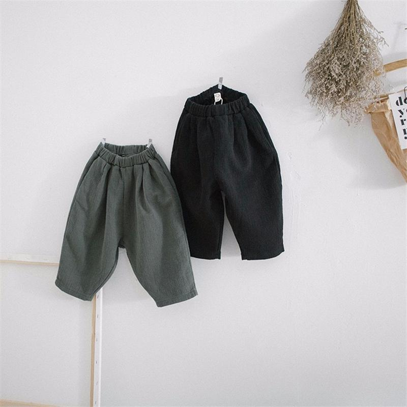 FM Korean New Autumn Kids Little Boys Turnip Pants Organic Linen Cotton Winter Elastic Wasit Trousers Spring Unisex Children Girls Trousers