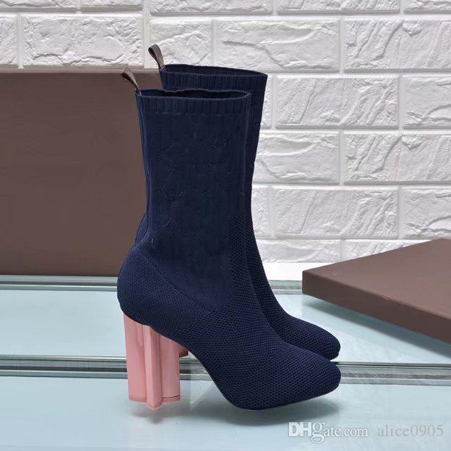 [Orignal Box] Sexy Socks High Heel 10CM Inverno Neve Womens Metade tornozelo botas curtas Cavaleiro bordado tecido stretch calça o tamanho 35-41
