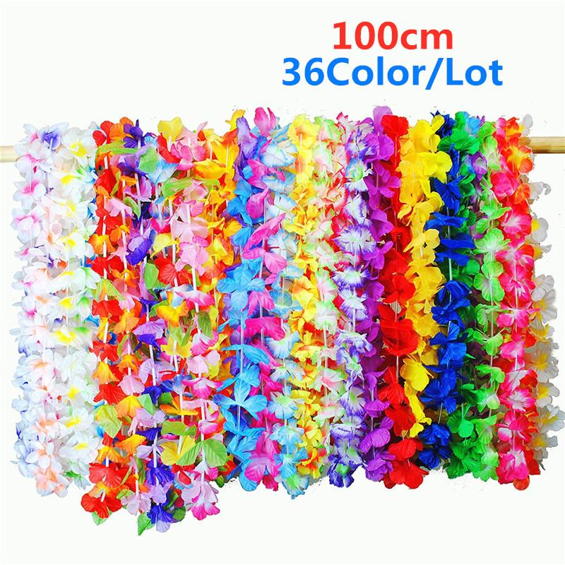 36Color / Lote hawaiano de flores artificiales Leis Decoración de la guirnalda del collar de flores de bricolaje Fancy Dress Accesorios Hawaii Beach Party