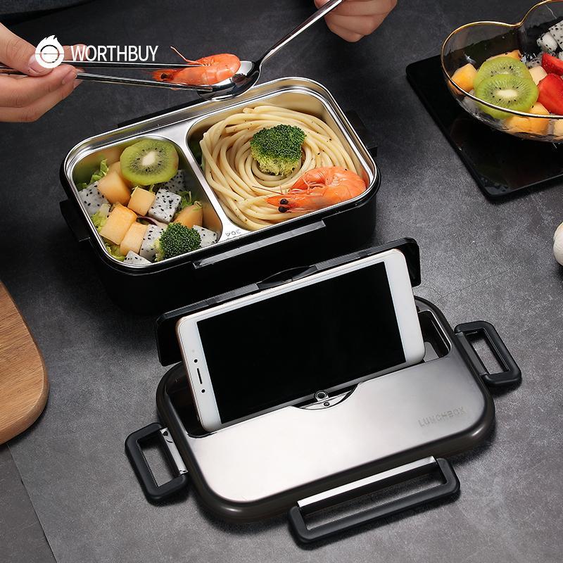 WORTHBUY giapponese bambini Lunch Box in acciaio inox 304 Bento Lunch Box con vano da tavola forno a microonde contenitore di alimento Scatola Cl200920