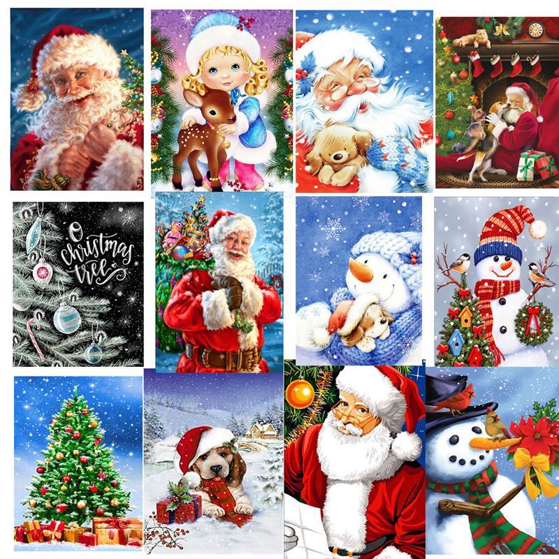 5D DIY Christmas Full Drill Rhinestone Diamond Painting Kits Cross Stitch Santa Claus Snowman Home Décor JK2008XB