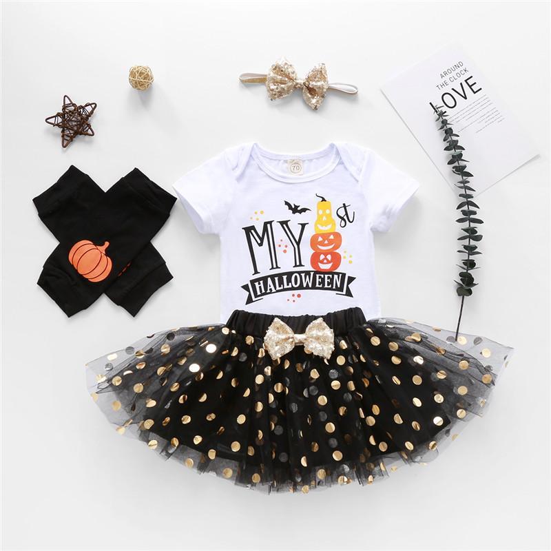 4PCS Halloween filles bébé Costume mignon impression à manches courtes Romper + Tulle Jupe + Jambière bandeau sequin Tenues Set