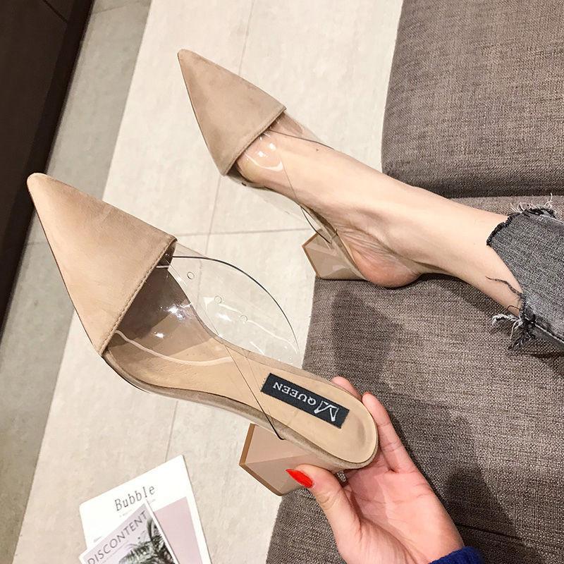De punta estrecha plaza de ante de tacón alto talones Muller zapatillas de las mujeres 2019 zapatos del verano de las mujeres de la manera del remiendo de las señoras zapatos de poca profundidad