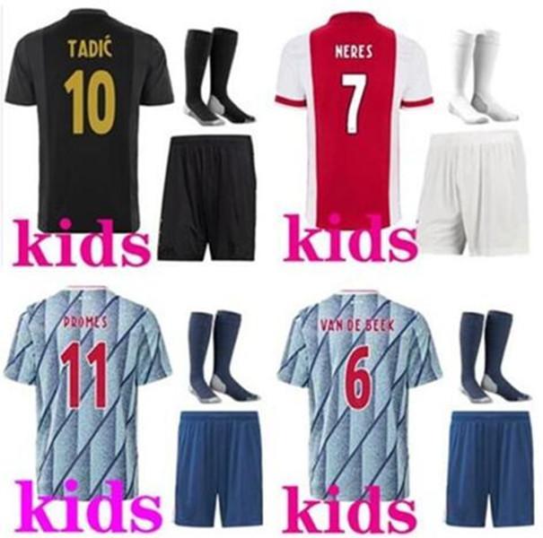 2021 Ajax FC 축구 유니폼 가정 키즈 키트 20/21 맞춤형 # 7 Neres # 9 Huntelaar # 10 Tadic # 11 Prodes # 22 Ziyech Football Shirt