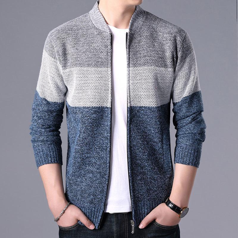 Mode Automne Hiver Pulls Hommes Patchwork Cardigan en maille Manteaux Marque Vêtements Homme Knitwear Sweatercoats Hauts-vêtement CX200818