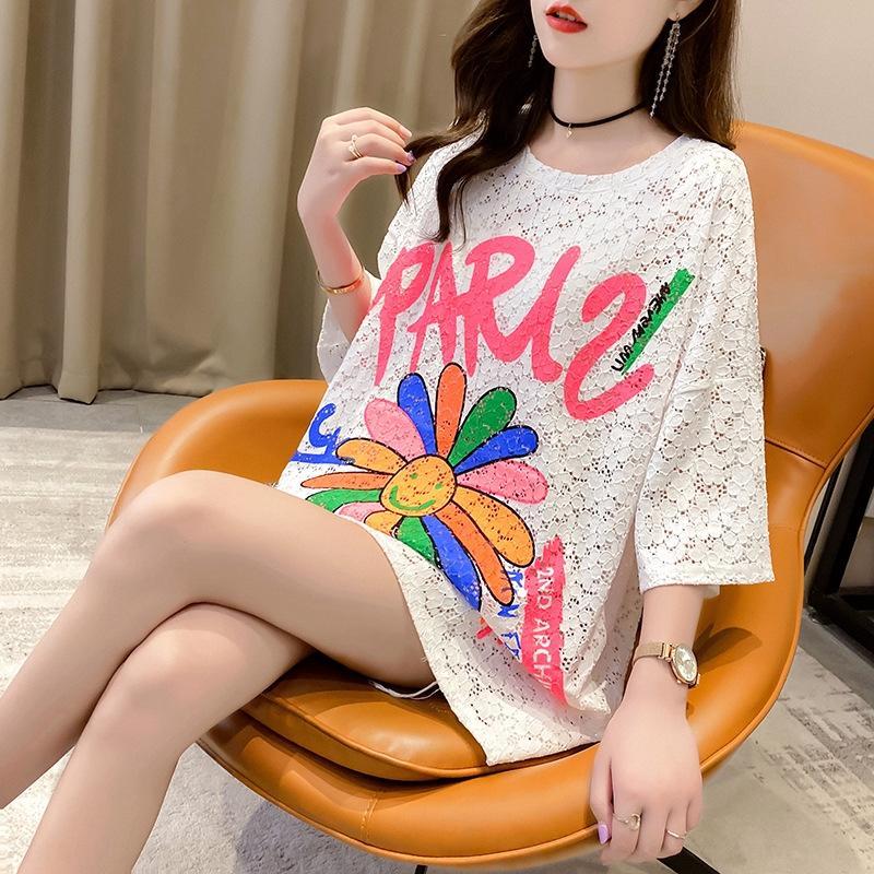 2020 verano de estilo coreano pantalones cortos sueltos camiseta y pantalones cortos hueco mitad de la longitud impreso inconformista tapa ocasional de manga corta camiseta para las mujeres