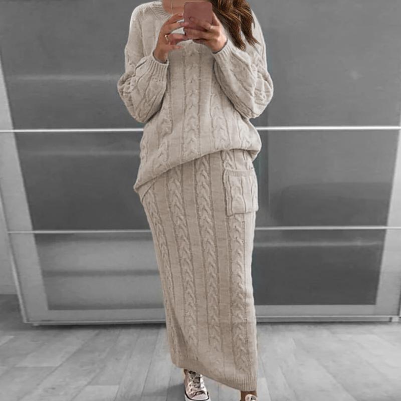 أزياء المرأة محبوك مجموعة كم طويل البلوز سترة + الشريط اللباس مجموعات البدلة الصلبة اللون حك 2 قطعة مجموعة السيدات عارضة محبوك