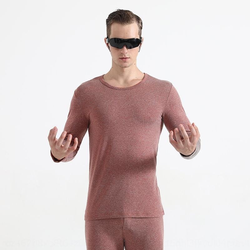 calças gIUmI Yu Zhaolin calças juventude rodada cor pescoço sólida slim casal fina catiônica térmica conjunto Quente ahjXW terno underwear terno das mulheres