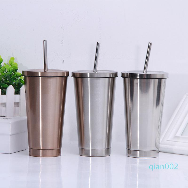 500ML in acciaio inox paglia tazza di caffè vuoto isolato Tumbler caffè di corsa della tazza di tè Bere Coppa HH9-2103