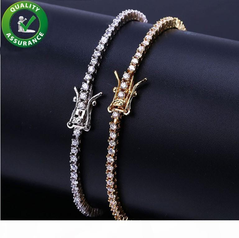 Correntes para fora congelado diamante Tennis Bracelet Mens Hip Hop Jóias 18k banhado a ouro Pulseiras Micro pavimentada CZ Sparkling Luxo Bangle pulso Enrole