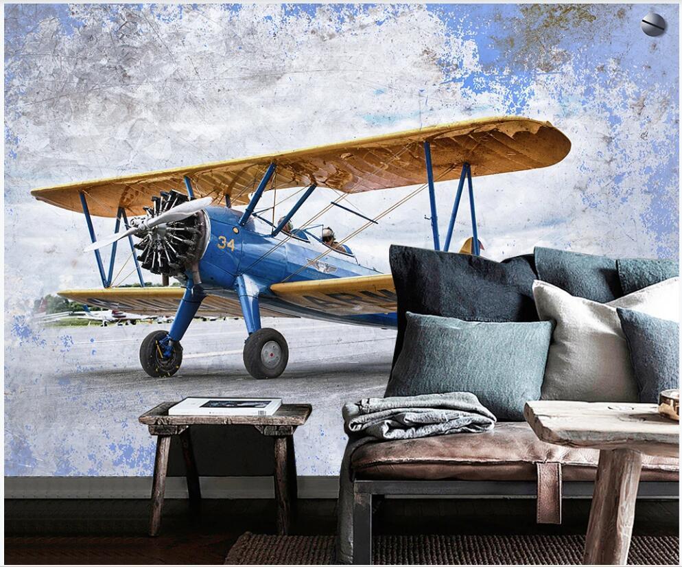 Duvarda 3d duvar kağıdı özel fotoğraf duvar duvarları 3 d için Retro uçak Amerikan endüstriyel tarzı oturma odası ev dekor fotoğraf kağıdı