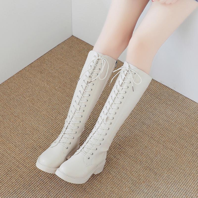 Nuevo de las mujeres sobre la rodilla botas de tacones moda de las señoras Med retro caliente de espesor talones Encaje zapatos largo otoño y botas de invierno