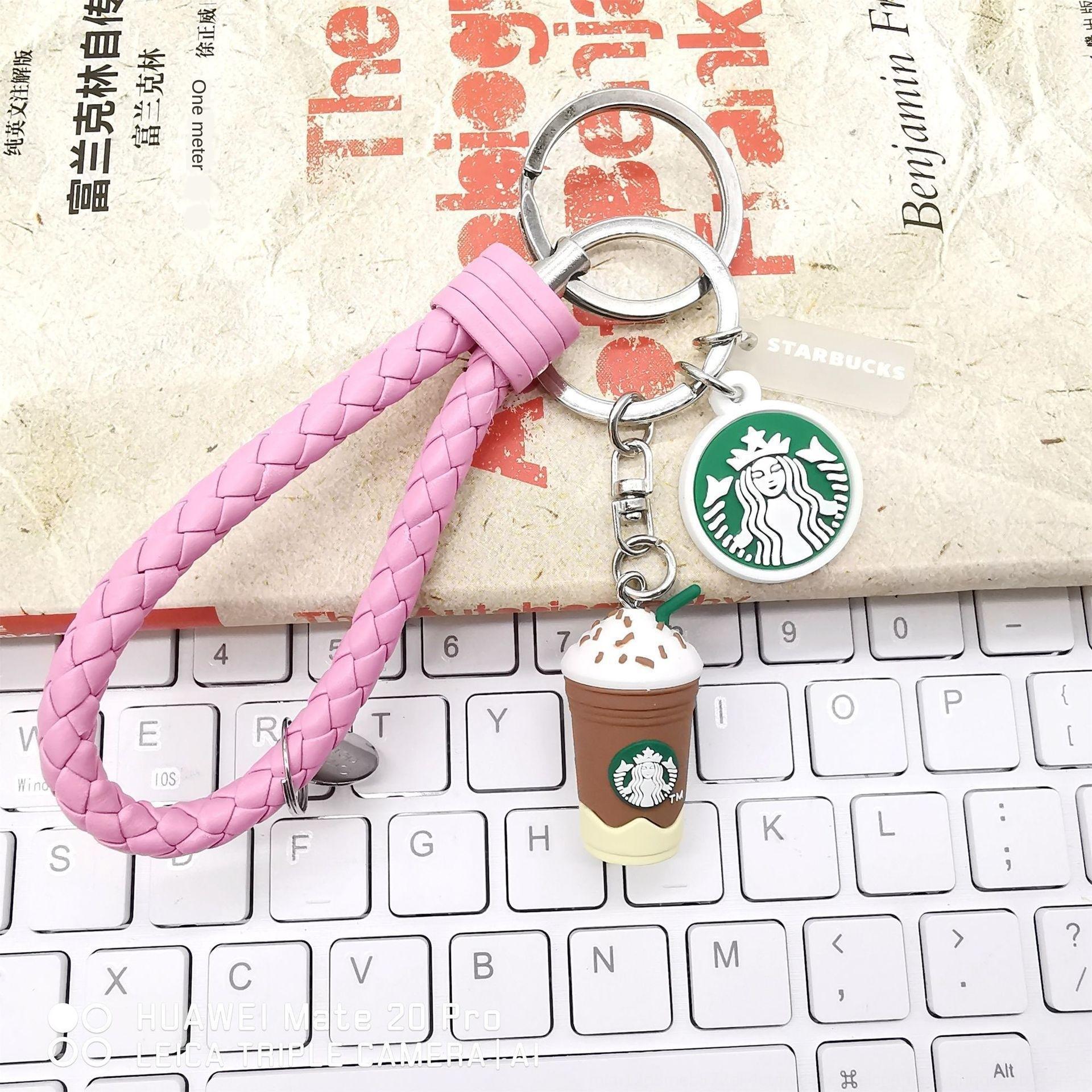 Koreli sevimli karikatür çift simülasyon Yıldız Bar 1g kahve fincanı erkek ve kadın araba anahtarı kolye ip örgülü halat zincir kolye Mv3pt örgülü