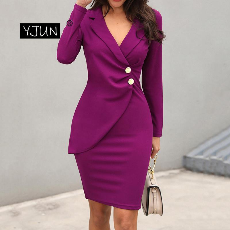Elegant Ladies Office Work Pencil Dr Buttons Wrap Long Sleeve Plus Size Autumn Women Formal Slim Blazer Dres Knees