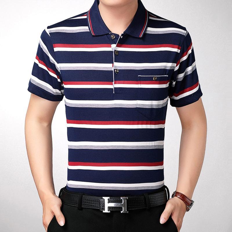 2020 fashion pocket short sleeve shirt striped wear men camisa masculina mens polos hombre blouse shirt clothing