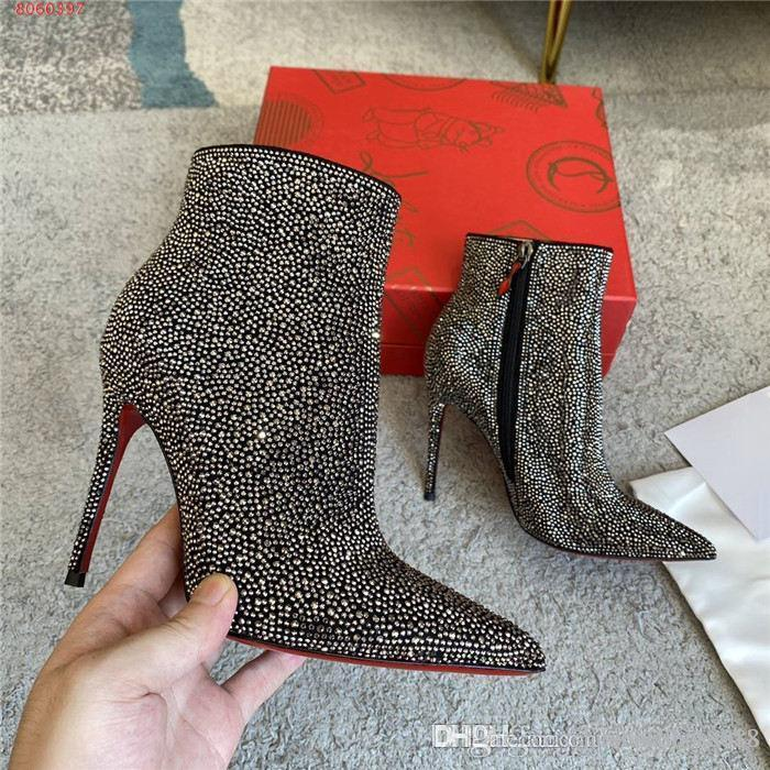 New autumn and winter color full crystal ankle boot, sexy pointed stiletto side side zipper stiletto boot With complete packaging