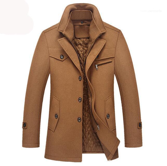 DesignerJackets informal paño grueso y suave grueso chaquetas de abrigo nuevo de la manera del color sólido de la solapa del cuello adolescentes abrigos de invierno para hombre