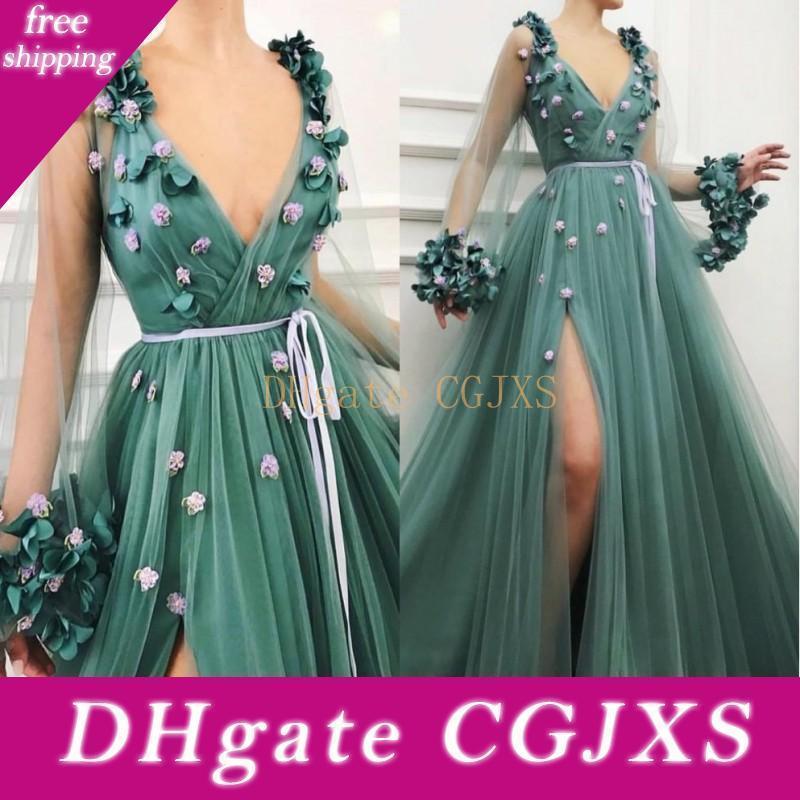 2020 Красивые Boho Hunter Green Пром платья Sexy Глубокий V шеи длинным рукавом бедренной кости высокие Щели с 3d Цветочные цветы Вечерние Wears