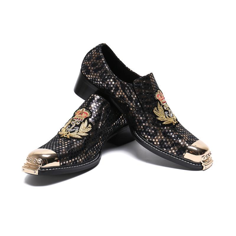 Homens vestido de couro Sapatos redondas do casamento Toe Calçados formais Toes metal Escritório saltos baixos