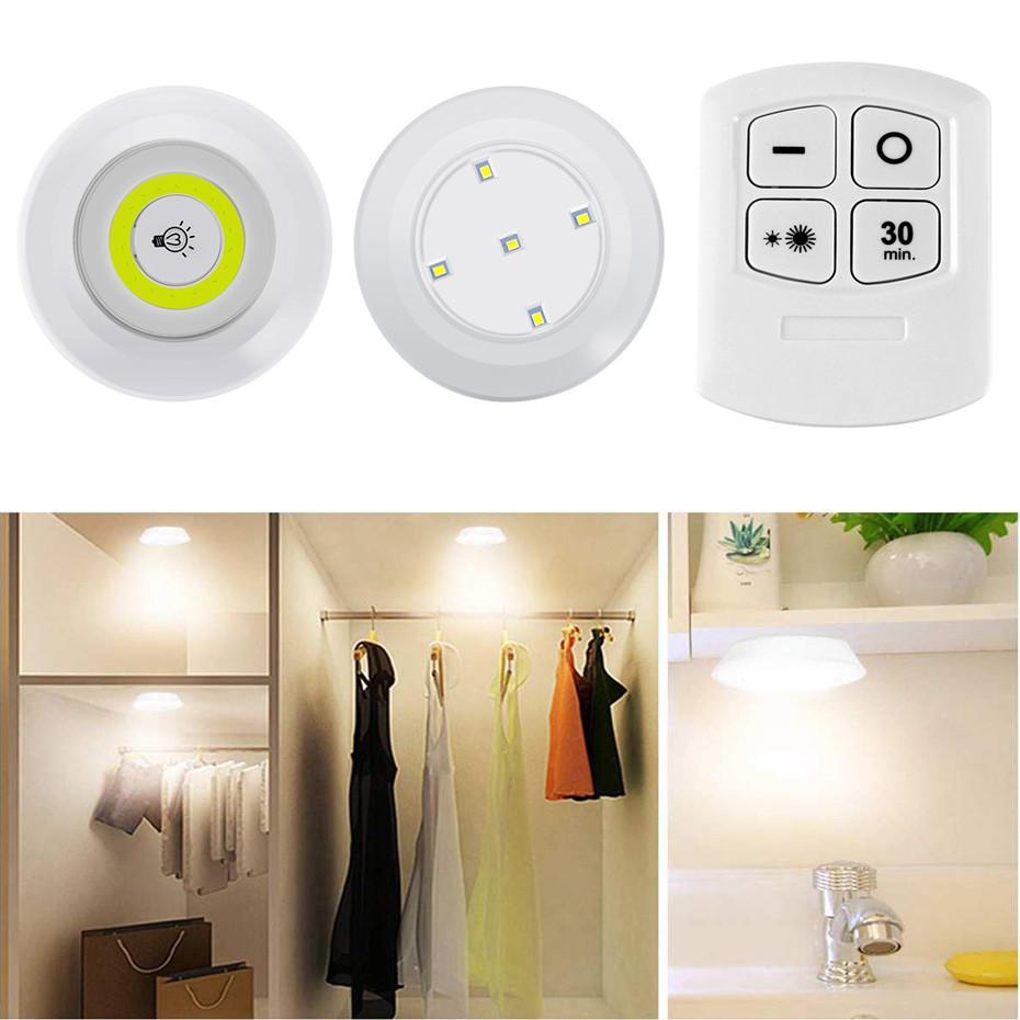 LED DIMMABLABLE Sous Cabinet COB Night Light Light Batterie Moulage à la batterie Feuilles d'éclairage de la pomme de nuit avec télécommande pour la garde-robe