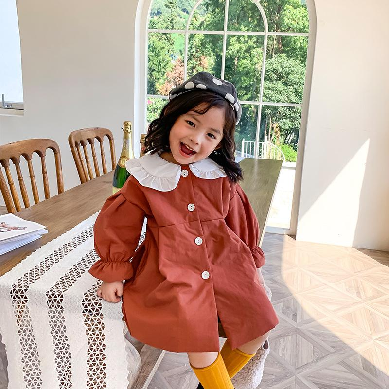 El otoño y el invierno de Nueva color puro algodón de la llegada estilo coreano espesa capa larga con cuello lindo para las niñas dulces