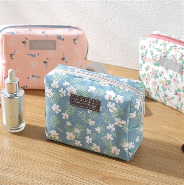 Мода Мини кошелек Полосатого Путешествие Wash Bag туалетного Make Up Case Сладких Цветочный Cosmetic Bag Организатор красота Чехол Kit для макияжа