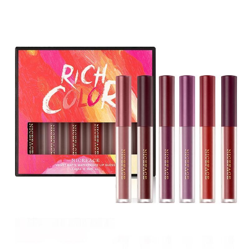 6PCS Matte Velvet Lip Gloss Set liquide rouge à lèvres lisse imperméable Brillant à lèvres pour les femmes Long Lasting Nouveau
