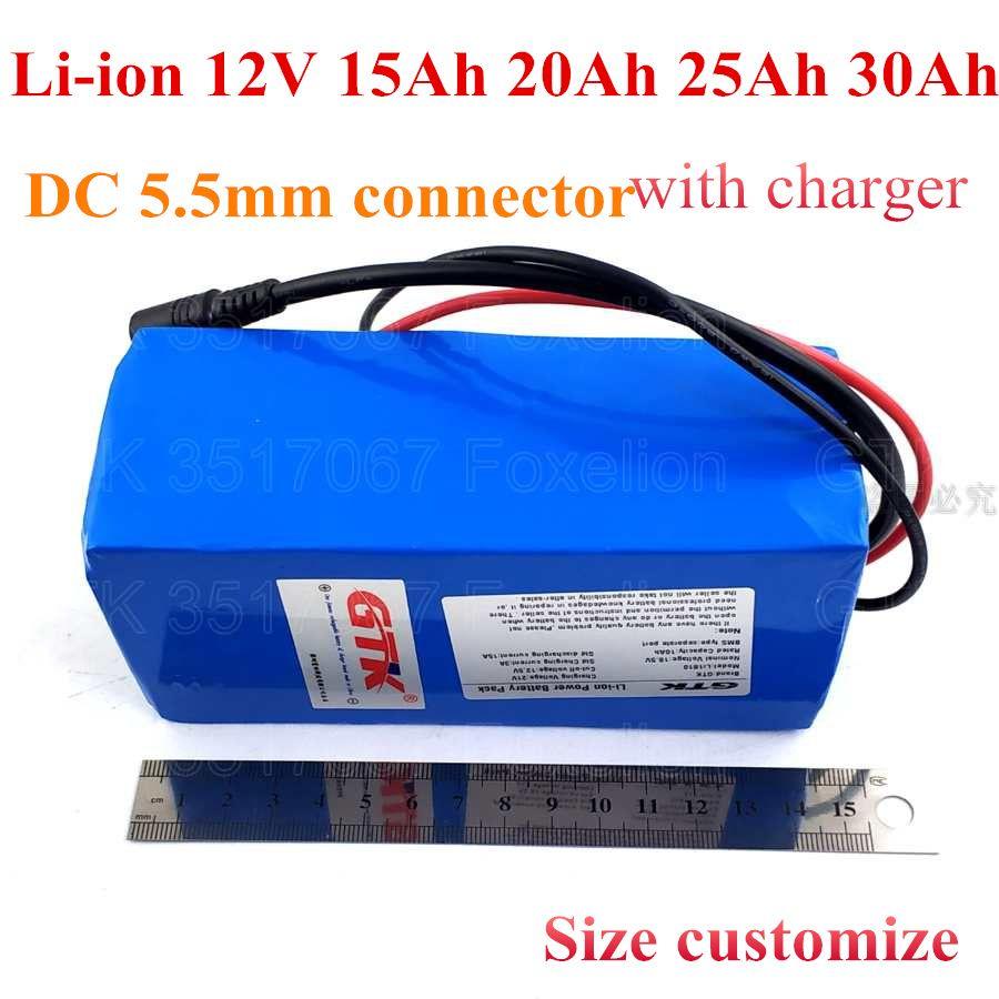 GTK li-ião 12V 15Ah 20Ah 25AH 30Ah bateria recarregável embutida BMS som caixa de aspirador de pó carregador carrinho + 12,6 V 3A