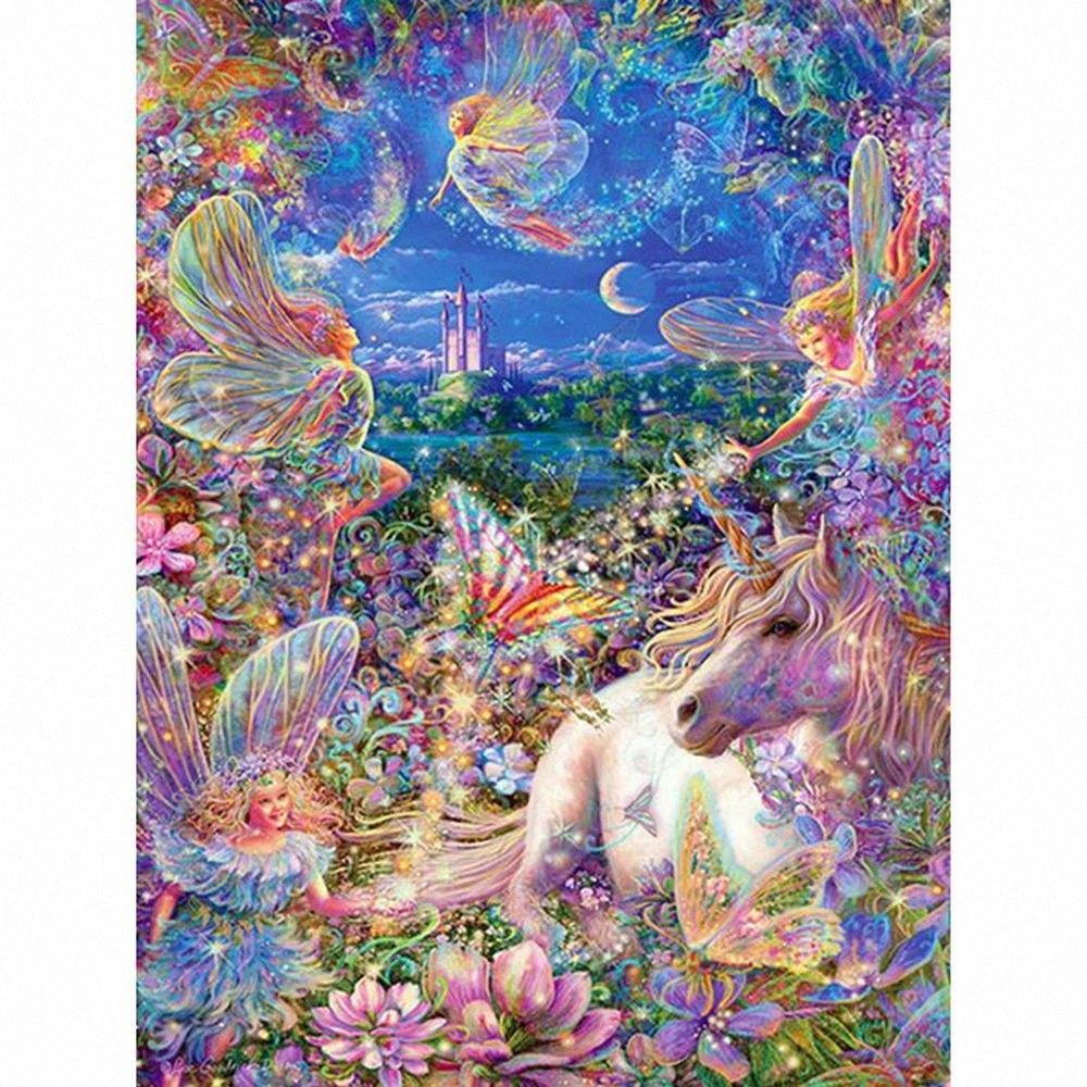 "5D DIY Round drill diamond painting cross stitch mosaics Full 100% embroidery ""Flower Fairy&Unicorn"" diamond embroidery decor pY2S#"