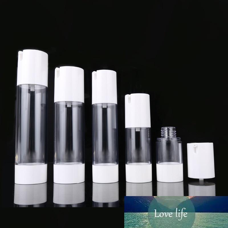 300pcs 15ml 30ml 50ml en plastique transparent Videz cosmétiques Airless bouteille haut blanc Bouteilles Rechargeables Pompe Distributeur pour Lotion Voyage