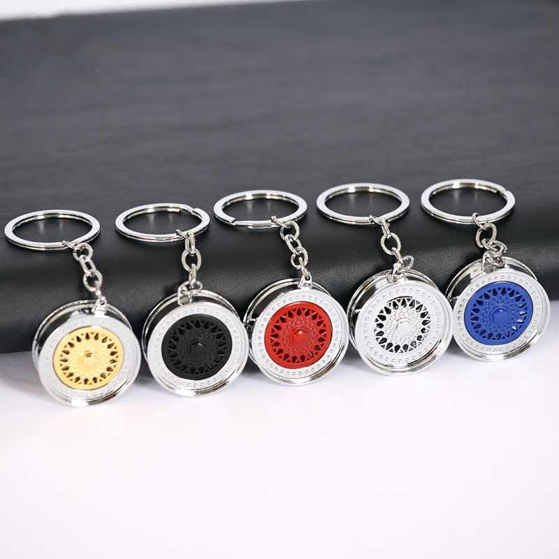 Car Wheel Modified Key Chain Silver & Golden BBS Wheel Key Ring Pendant Modified Ring Auto Part Car Accessories Personality