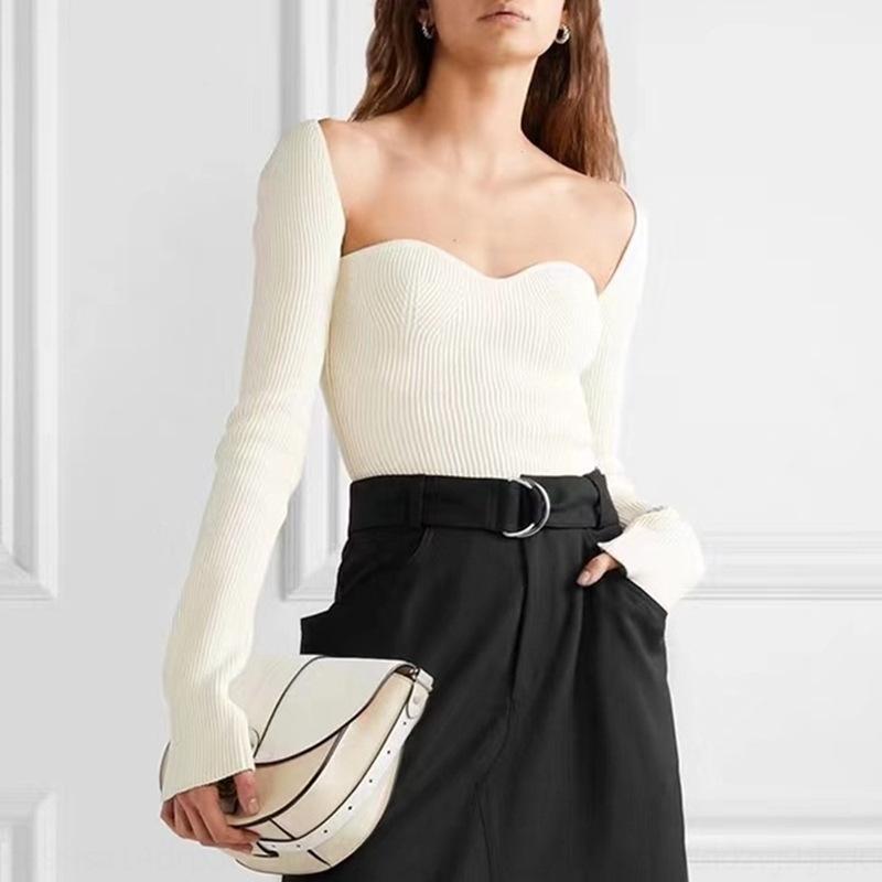 plaza de corte elegante francesa collar de soporte del pecho atractiva delgada del ajuste del arco de adelgazamiento dividida suéter de color sólido suéter cFIZa