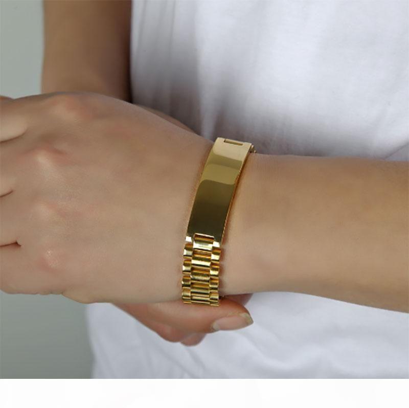 Arrefecer Mens 15 milímetros 21CM Watch Band Pulseira banhado a ouro de aço inoxidável 316L Correia Sólidos abotoaduras Bangles Jóias presente