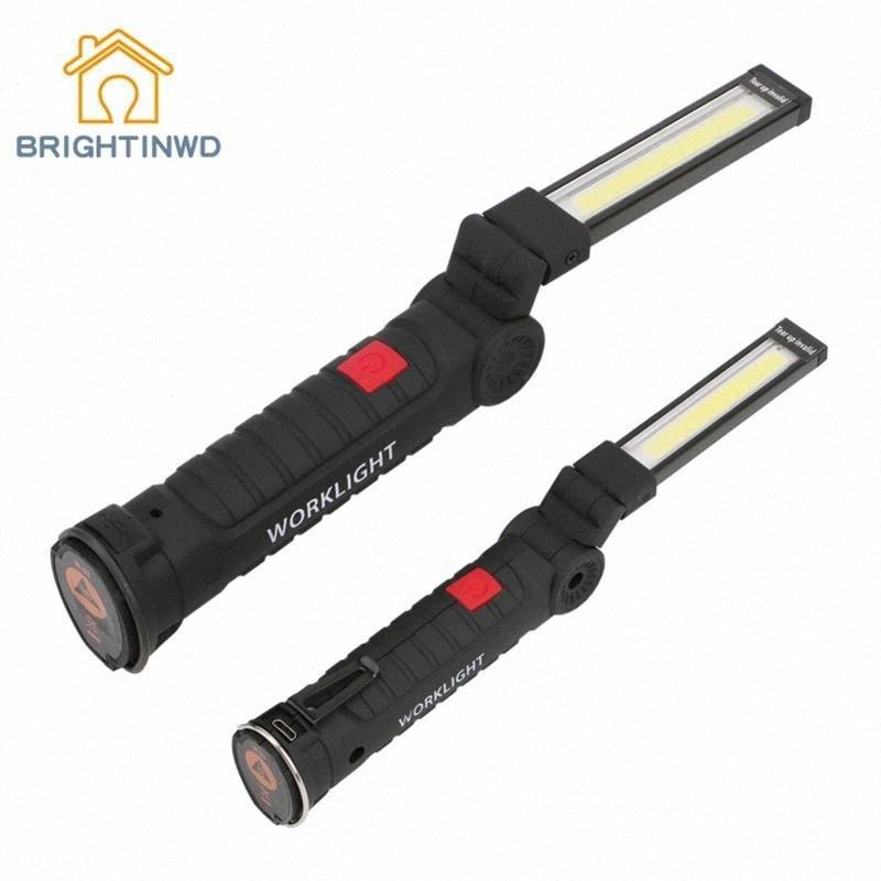 Zelt-Lampe USB aufladbare LED-Taschenlampe magnetische Arbeitsklapphaken Leuchten Außen Lanterna 3 Modus COB LED Camping xU2t #