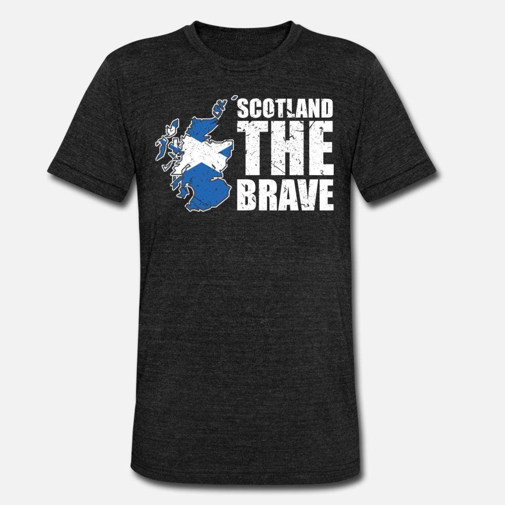 Шотландия тенниска мужчины напечатаны с коротким рукавом Круглый воротник шаблон Сумасшедший Смешной Весна тонкая рубашка