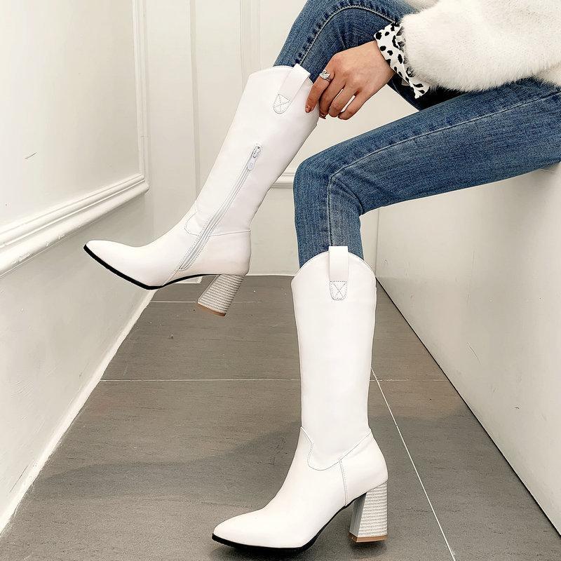 Moda stivali alti al ginocchio autunno Donne Piazza Tacchi alti Wester Stivali da cowboy a punta Zipper peluche di inverno Nero Bianco