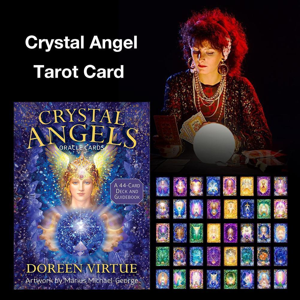 Jugando 44PCS cristal Ángel Oracle Tarjetas De Mesa Juego de mesa Fiesta de la familia de reunión para los juegos de cartas de Tarot Amores