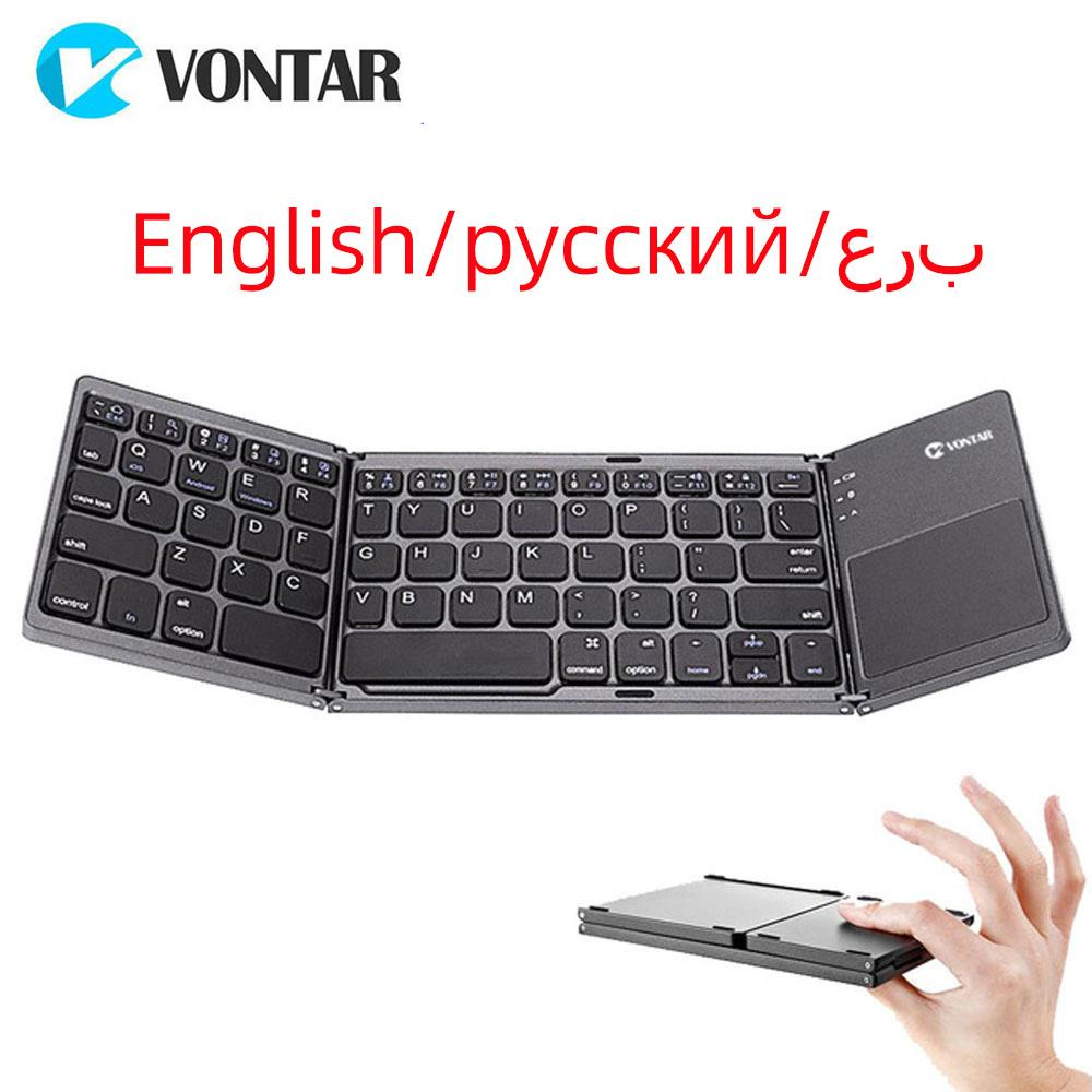 Portable Folding Bluetooth Mini Keyboard Foldable Wireless Klavye Touchpad Russian En Keypad for IOS/Android/Windows ipad Tablet
