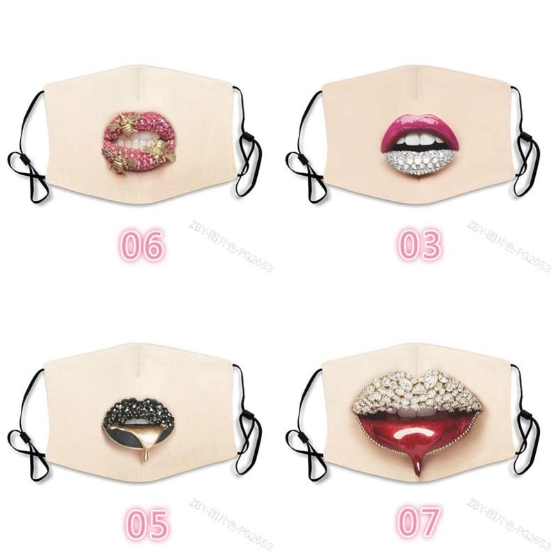 Lèvres embouchures dents Visage Masques Imprimer Cristal Coton Mascarilla Lavable Anti respirante fumée Mascherine Mode enfant sur mesure Femme 3xb C2