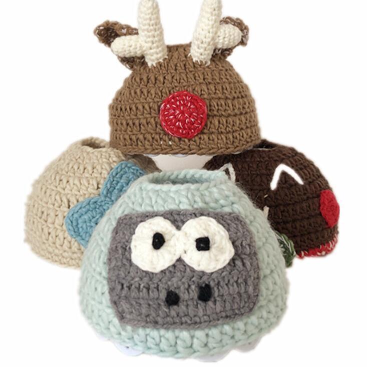 Bambini Cappellino Cuffia nudo cappello di lana del bambino animale del Beanie protezioni calde Kid inverno creativo protezione esterna di cappelli di sport per i bambini DHD1101