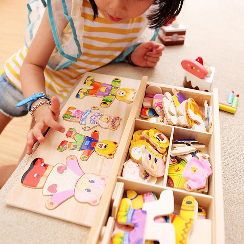 Quatre Cubs Changer de vêtements Jeu en bois enfants Early main Saisissant Robe Matching Puzzle jouets Prix usine de gros 1 pièces ou plus