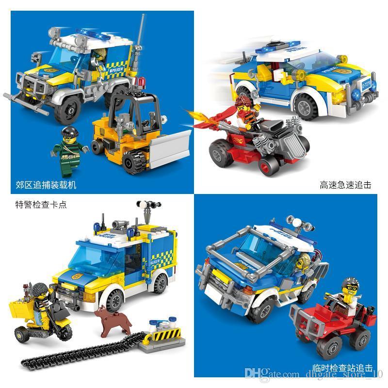 Kinder Baustein Spielzeug-Polizei Serie 3D-Modell 4 Arten von Stadtarrest Aktion Geschenk Dekorationen