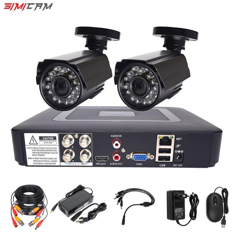 비디오 감시 시스템 CCTV 보안 카메라 비디오 레코더 4CH DVR AHD 야외 키트 카메라 720P 1080P HD 야간 투시 2MP 세트