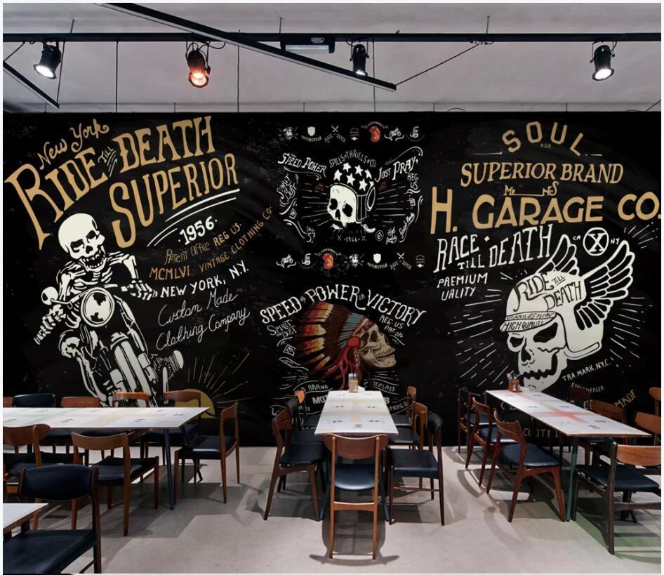 WDBH 3d wallpaer personalizzato foto europeo e punk moto bar espediente stanza di KTV arredamento murales americani 3d carta da parati per le pareti 3d