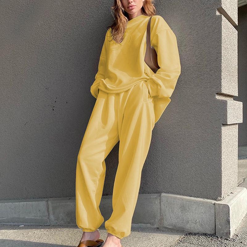 Casual Solid 2 pièces Ensemble Femme Batwing à manches longues Pull Sweat-shirt Élastique Taille pleine longueur Pantalon droit Set Lady 2020