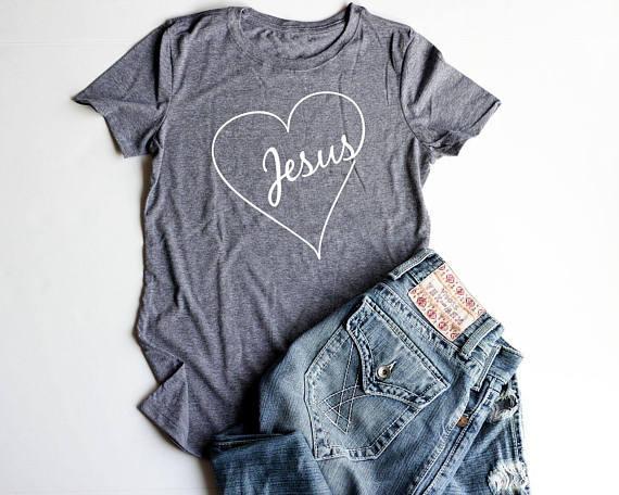 Valentim cristão Camisas Jesus cabido T Shirt Mulheres Jesus Coração shirt tees cristãos moda feminina encabeça gráfico t hirt