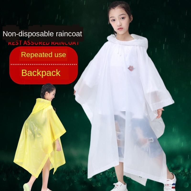 impermeable de los niños espesa volver mochila bolsa de capa capa de EVA no desechable poncho impermeable para niños y niñas y niños